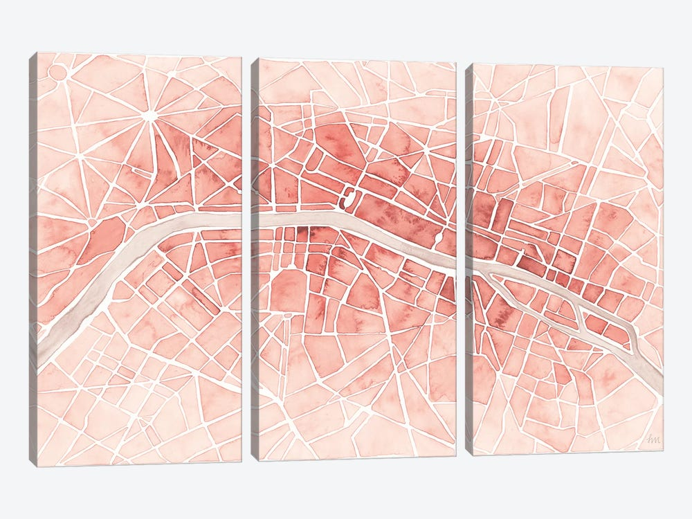 Watercolor Wanderlust Paris Coral by Laura Marshall 3-piece Canvas Wall Art