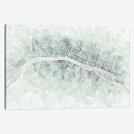 Watercolor Wanderlust Paris Mint Canvas Print #URA151} by Laura Marshall Canvas Wall Art