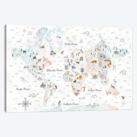 World Traveler I Dot BG Canvas Print #URA152} by Laura Marshall Canvas Art
