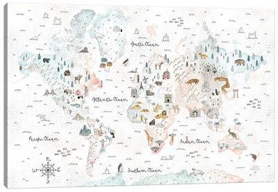 World Traveler I Dot BG Canvas Art Print