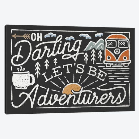 Adventurous I Black Canvas Print #URA175} by Laura Marshall Canvas Print
