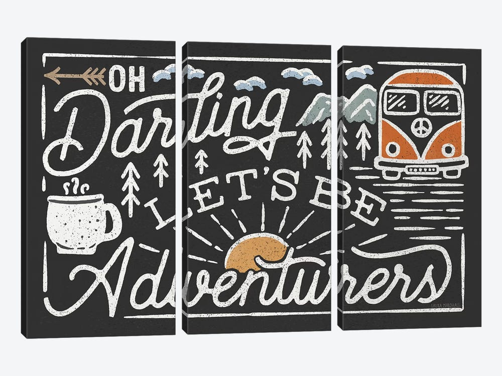 Adventurous I Black by Laura Marshall 3-piece Canvas Print