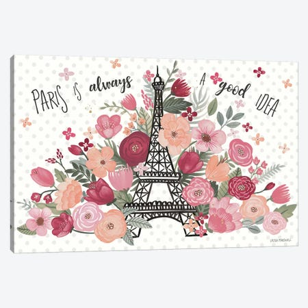 Paris Is Blooming I Canvas Print #URA1} by Laura Marshall Canvas Print