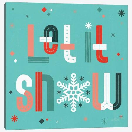 Retro Holiday VI Light Teal Canvas Print #URA201} by Laura Marshall Canvas Wall Art