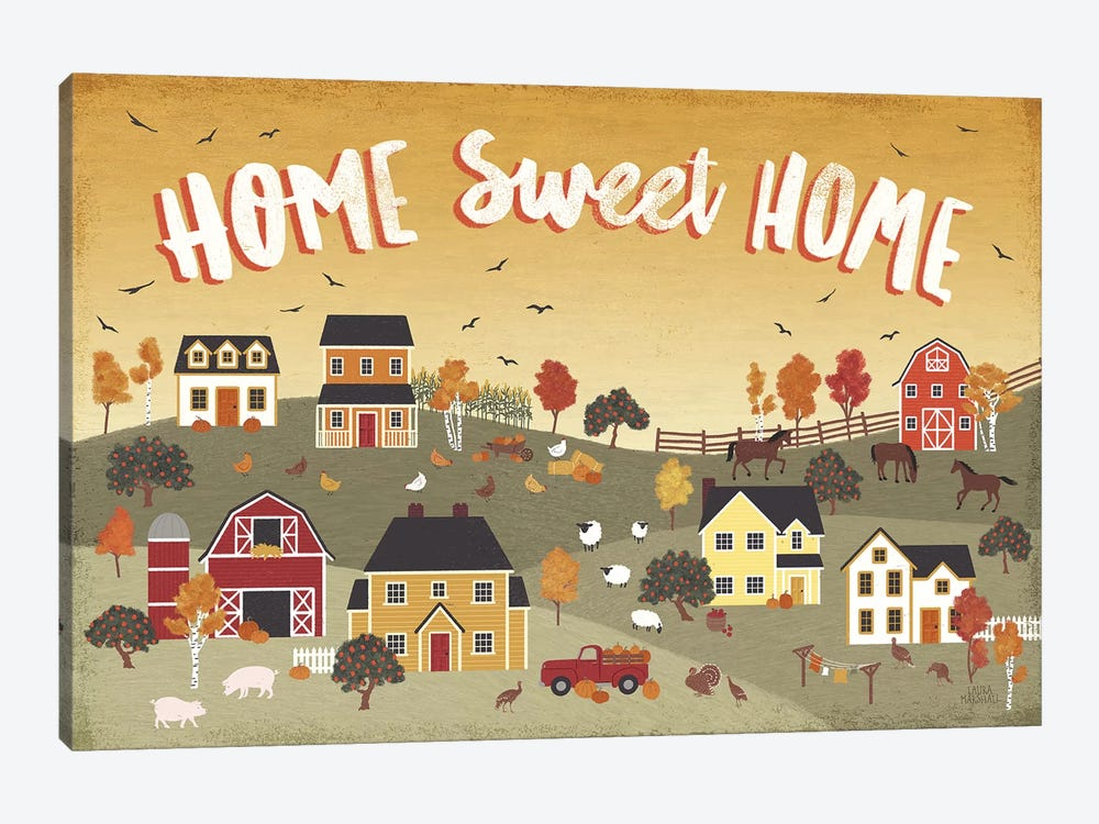 Harvest Village II by Laura Marshall 1-piece Canvas Artwork
