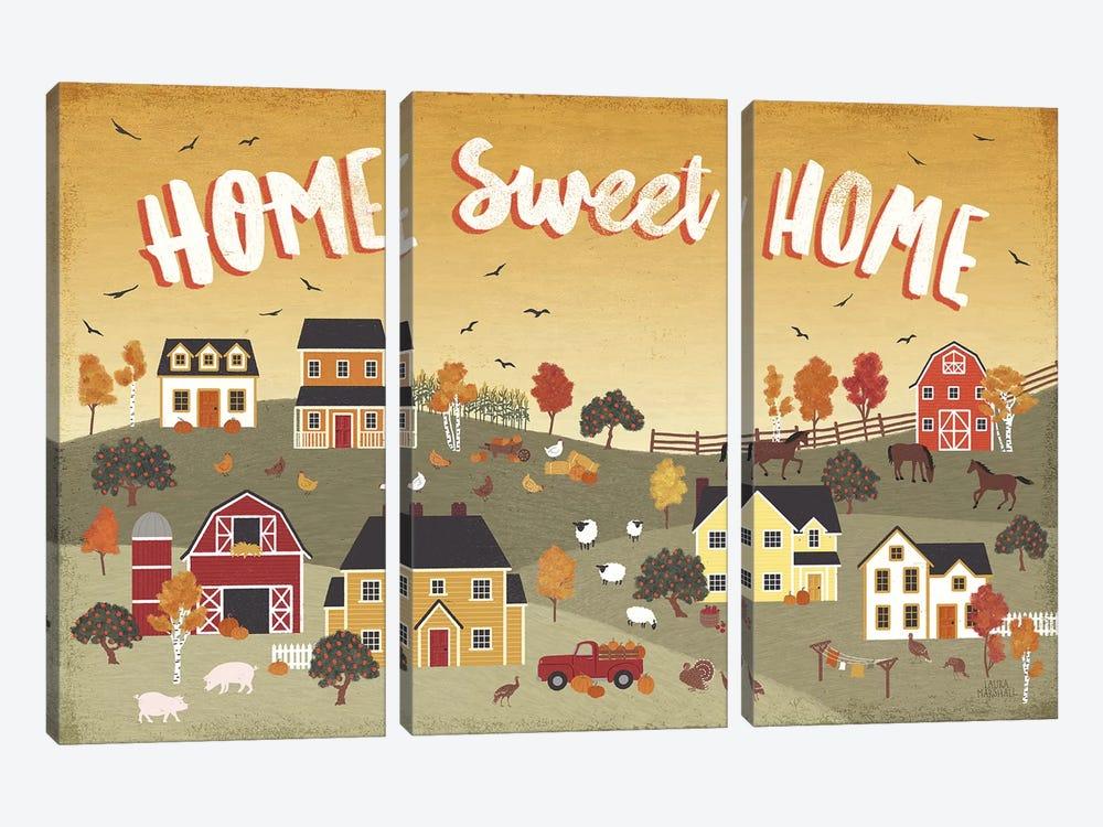 Harvest Village II by Laura Marshall 3-piece Canvas Art