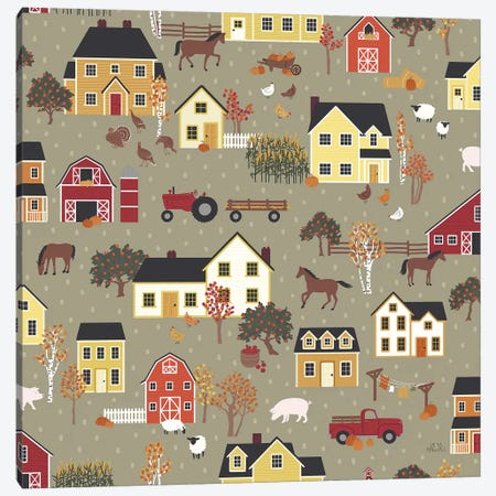 Harvest Village Pattern I Canvas Print #URA62} by Laura Marshall Canvas Art