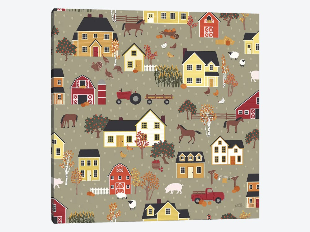 Harvest Village Pattern I by Laura Marshall 1-piece Canvas Wall Art