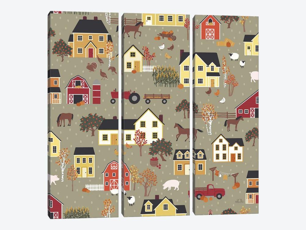 Harvest Village Pattern I by Laura Marshall 3-piece Canvas Art