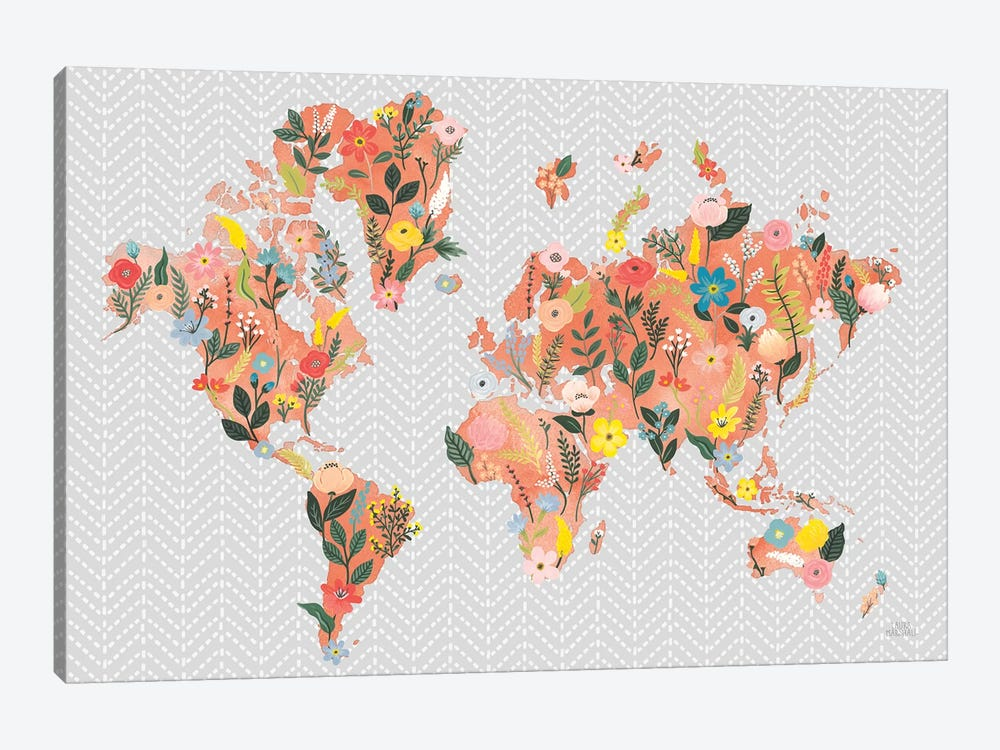 Wild Garden World Gray by Laura Marshall 1-piece Canvas Wall Art