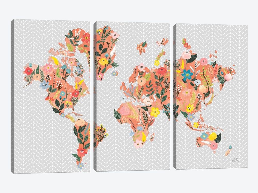 Wild Garden World Gray by Laura Marshall 3-piece Canvas Artwork