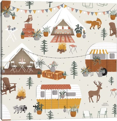 Gone Glamping Pattern IA Canvas Art Print