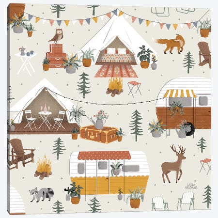 Gone Glamping Pattern IA Canvas Print #URA82} by Laura Marshall Canvas Artwork