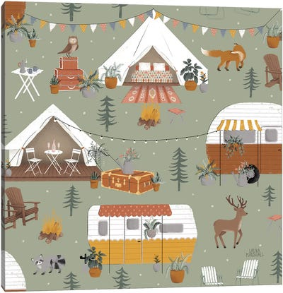 Gone Glamping Pattern IB Canvas Art Print