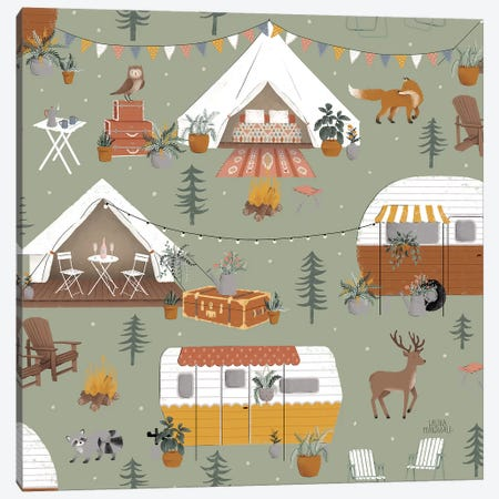Gone Glamping Pattern IB Canvas Print #URA83} by Laura Marshall Canvas Artwork