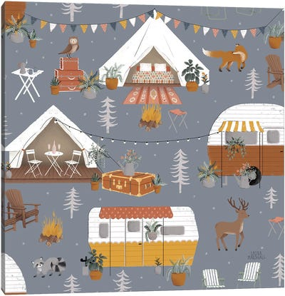 Gone Glamping Pattern IC Canvas Art Print