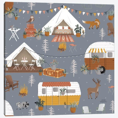 Gone Glamping Pattern IC Canvas Print #URA84} by Laura Marshall Canvas Print