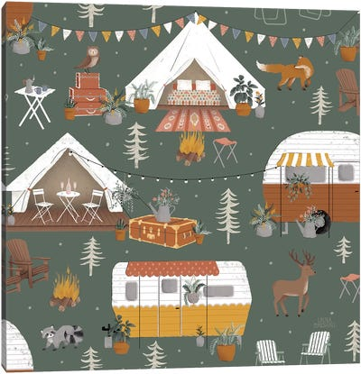 Gone Glamping Pattern ID Canvas Art Print