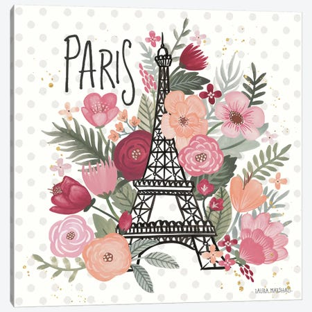 Paris is Blooming II Canvas Print #URA8} by Laura Marshall Canvas Print