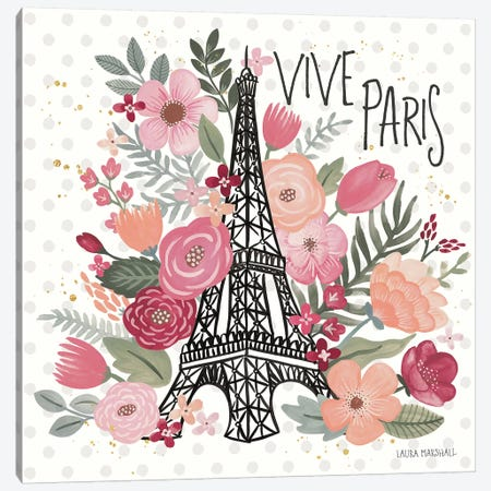 Paris is Blooming III Canvas Print #URA9} by Laura Marshall Canvas Art Print