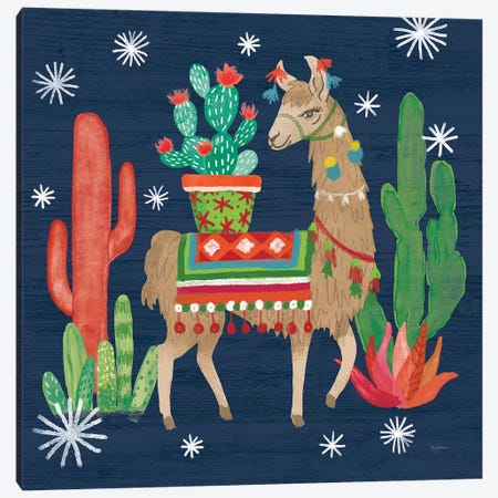 Lovely Llamas III Christmas Canvas Print #URB10} by Mary Urban Canvas Art