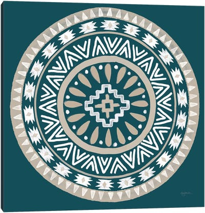 Lovely Llamas Mandala II Blue Green Canvas Art Print