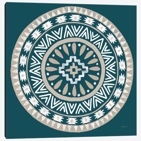 Lovely Llamas Mandala II Blue Green Canvas Print #URB112} by Mary Urban Canvas Artwork