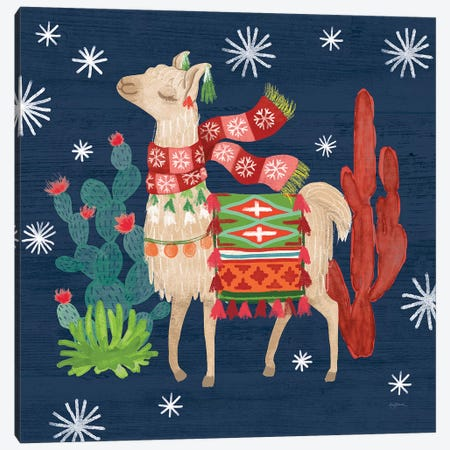 Lovely Llamas IV Christmas Canvas Print #URB11} by Mary Urban Canvas Artwork
