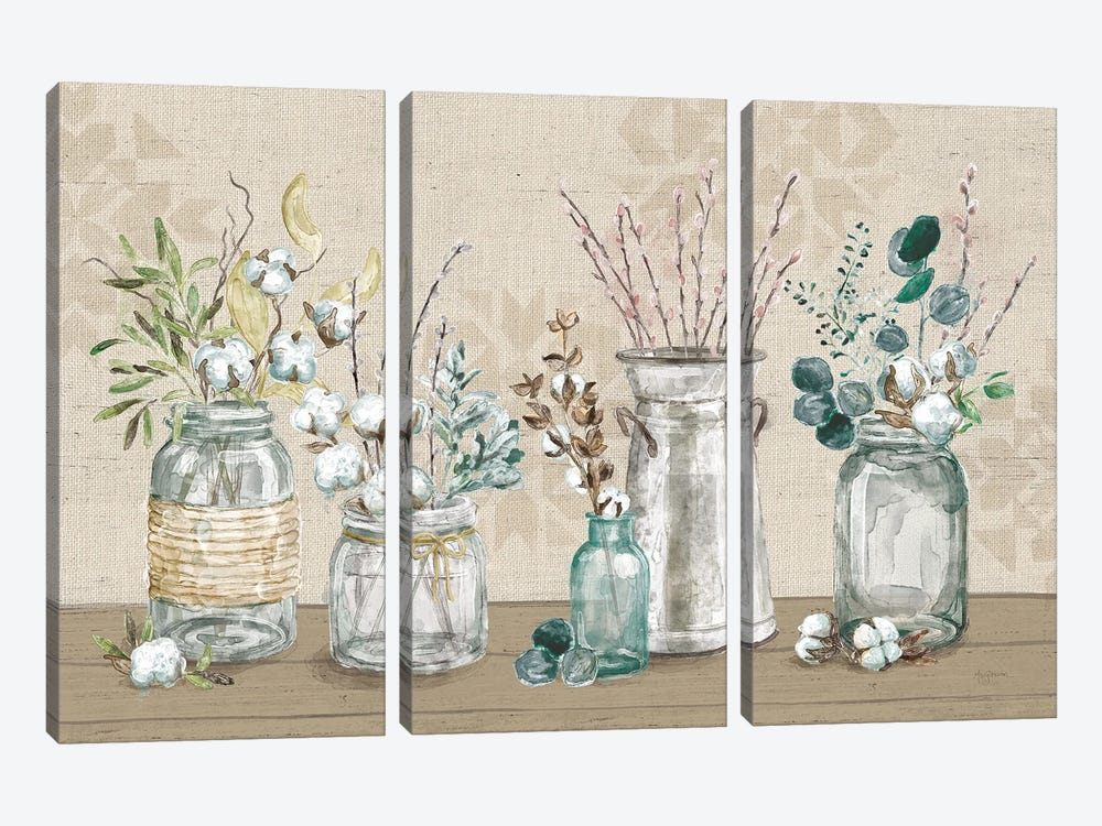 Cotton Bouquet I by Mary Urban 3-piece Canvas Wall Art