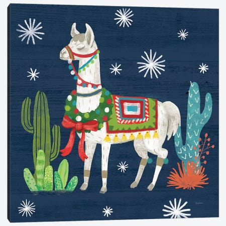 Lovely Llamas V Christmas Canvas Print #URB12} by Mary Urban Canvas Artwork
