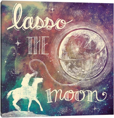 Universe Galaxy Lasso the Moon by Mary Urban Canvas Art Print