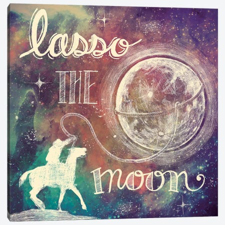 Universe Galaxy Lasso the Moon Canvas Print #URB15} by Mary Urban Canvas Print