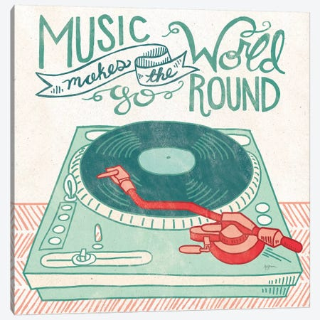 Retro Record Player Canvas Print #URB29} by Mary Urban Art Print