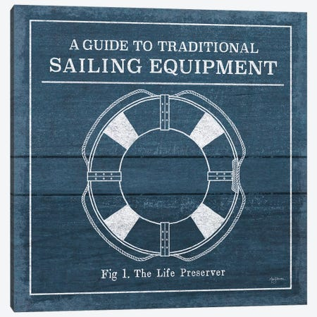 Vintage Sailing Knots X Canvas Print #URB53} by Mary Urban Canvas Wall Art