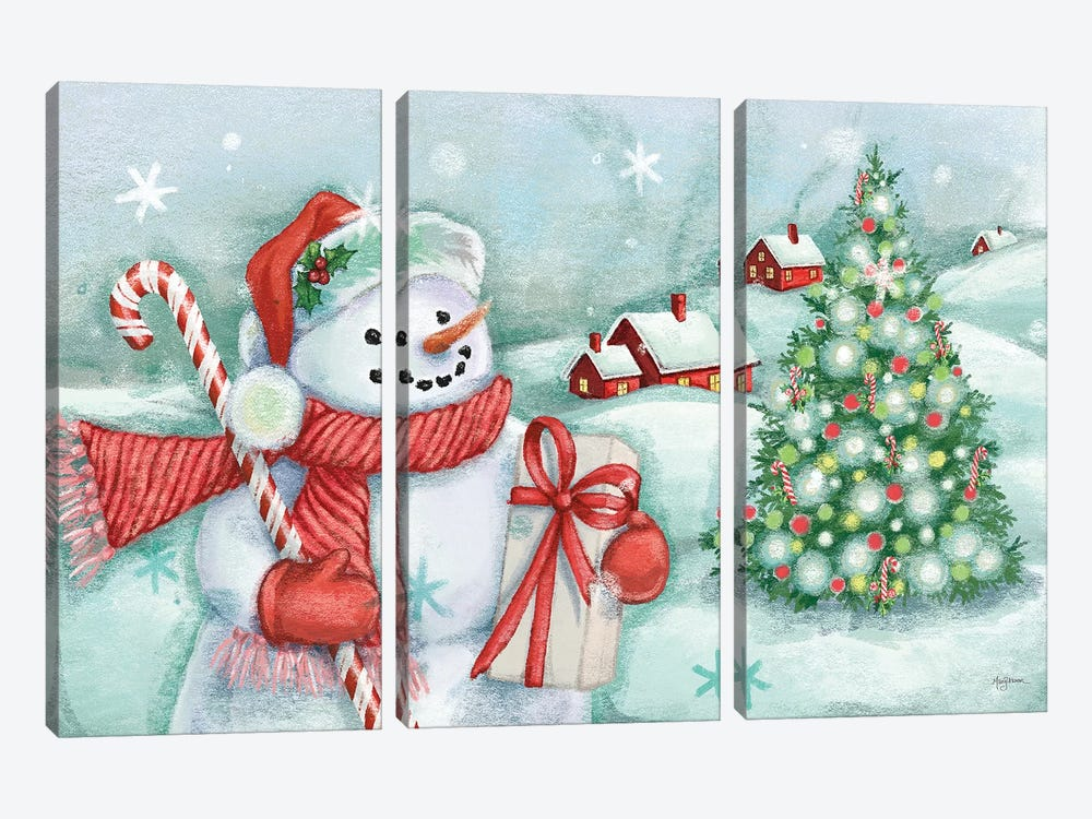 Classic Snowmen I by Mary Urban 3-piece Canvas Wall Art