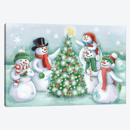 Classic Snowmen IV Canvas Print #URB8} by Mary Urban Canvas Wall Art