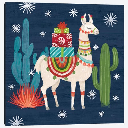 Lovely Llamas II Christmas Canvas Print #URB9} by Mary Urban Canvas Wall Art