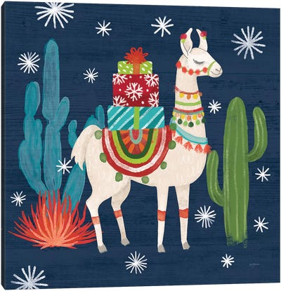 Lovely Llamas II Christmas Canvas Art Print