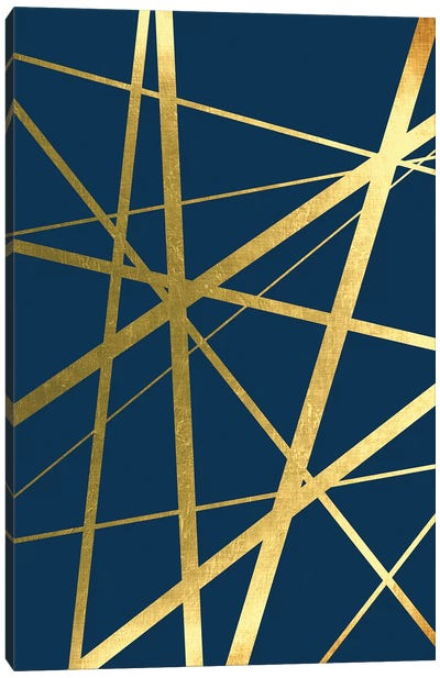 Metallic Lines Navy I Canvas Art Print