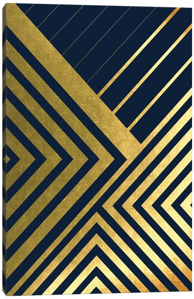 Metallic Lines Navy II Canvas Art Print