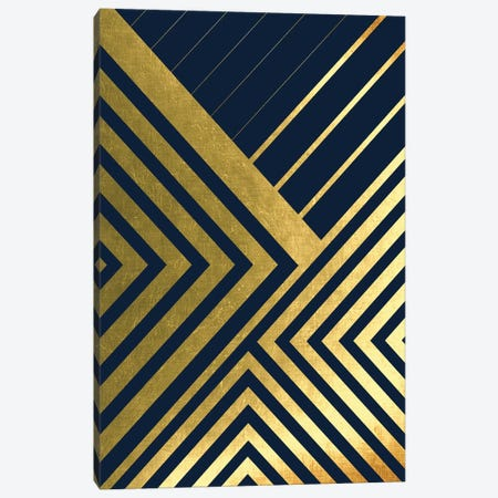 Metallic Lines Navy II 3-Piece Canvas #URE113} by Urban Epiphany Canvas Print