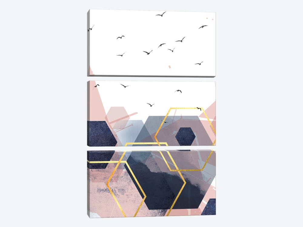 Abstract Navy Blush Gold II by Urban Epiphany 3-piece Canvas Print
