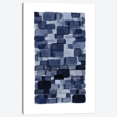 Navy Blue Watercolor Block Canvas Print #URE158} by Urban Epiphany Canvas Print