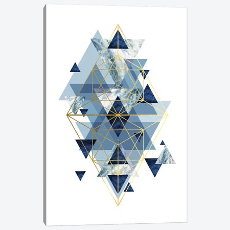 Navy Gold   Geometric Canvas Print #URE161} by Urban Epiphany Canvas Art