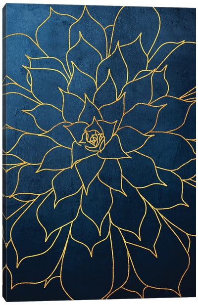 Navy Gold Succulent I Canvas Art Print