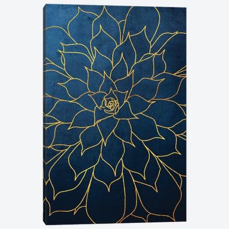Navy Gold Succulent I Canvas Print #URE165} by Urban Epiphany Art Print