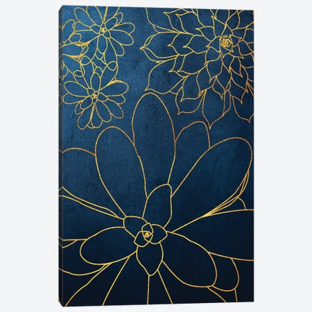Navy Gold Succulent II Canvas Print #URE166} by Urban Epiphany Canvas Print