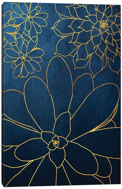 Navy Gold Succulent II Canvas Art Print