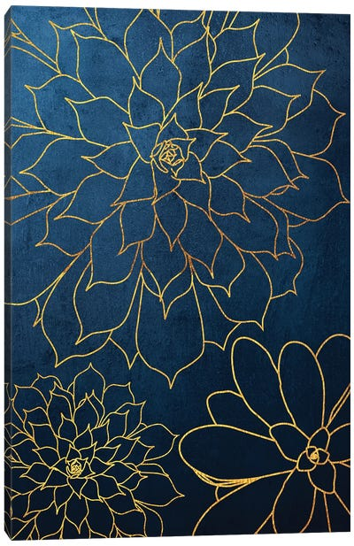 Navy Gold Succulent III Canvas Art Print