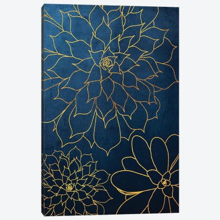 Navy Gold Succulent III Canvas Print #URE167} by Urban Epiphany Art Print